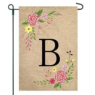 JEC Home Goods Floral Monogram Garden Flag - Summer or Spring Garden Flag 12.5 x 18 (B)