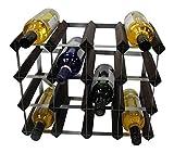 DS Wineware - Estante de Vino Tradicional para 16 Botellas con Certificado FSC, Pino Oscuro, Caoba, Almacenamiento