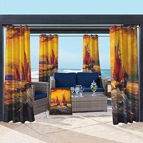 ParadiseDecor Country Quality Curtains for Kids Room Image of Old Sailboats Ships Cruising in Waves at Sunrise Time Dark Sky Art Yellow Orange 108W x 108L Inch