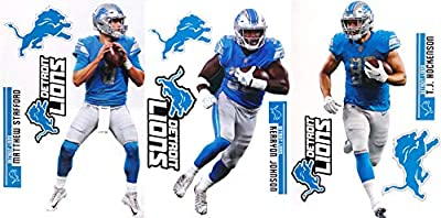 "FATHEAD Detroit Lions Collection 3 Players + Lions Logo Sets Official NFL Vinyl Wall Graphics - Each Player Graphic 17"" INCH - Stafford, KERRYON Johnson, T.J. HOCKENSON"