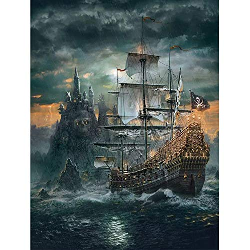 5D DIY Diamond Painting The Skeleton Ship Full Drill by Number Kits, Craft Decor by SKRYUIE, Paint with Diamonds Embroidery Set DIY Craft Arts Decorations (12x16inch)