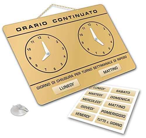 Cartel con relojes para señalar el horario de apertura y ci