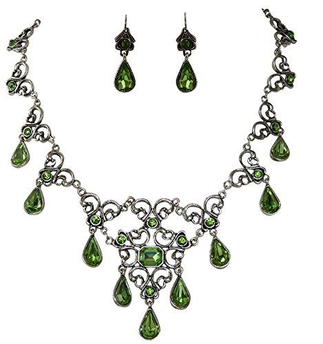 Trachtenschmuck Dirndl Collier Set - Peridot grün - Antikschmuck Replikat - Kette und Ohrhänger