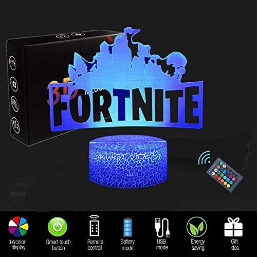 3D Luz de noche Ilusión óptica Lámpara LED Luz de noche Fortaleza Luz 16 Colores Lámpara luz de noche niños mejor regalo hogar decoración para niños 3d lámpara led