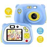 Pancellent Cámara para niños para niñas y niños, WiFi Sharing 1080P HD Videocámara Digital con cámaras de Doble Lente con Carcasa de Silicona Suave para Jugar al Aire Libre (Azul)