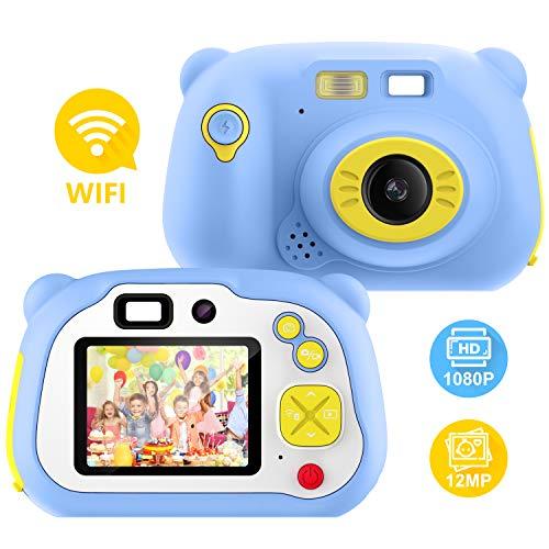 Pancellent Digitale Kamera für Kinder Robuste HD Kinderkamera 2,0 Zoll Farbdisplay 1200 Megapixel 1080p Videokamera mit 16 GB Speicherkarte und USB Kabel (blau)