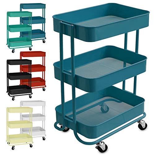 casa pura Design Allzweckwagen mit 3 Etagen - Rollwagen bis 24 kg belastbar - Servierwagen mit 2 Bremsen - Beistellwagen für Küche, Bad, Büro - Korbwagen auf Rollen in 6 Farben (Dunkelblau)