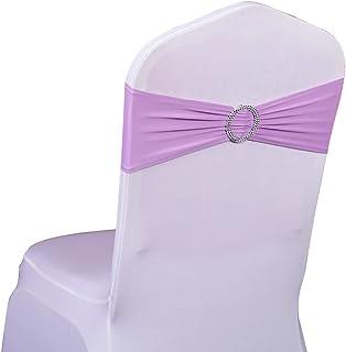 SINSSOWL Lot de 10pc/50PC élastique Slider Chaise nœuds Spandex Housse de Chaise Groupe nœuds pour décoration de Mariage