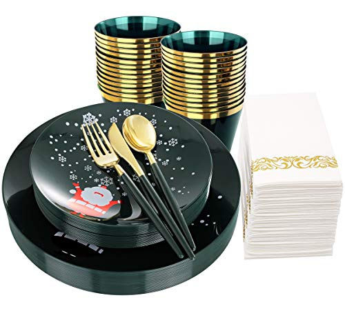 nervure 175pcs Green and Gold Disposable Plates with snowflake&Gold Silverware with Green Handle include 50 Plates, 25 Spoons, 25 Forks, 25 Knives, 25 Cups, 25 Napkins for Christmas