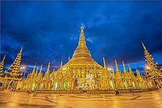 Media Storehouse 12x8 Print of Shwedagon Pagoda Before Sunrise, Yangon, Myanmar (14610540)