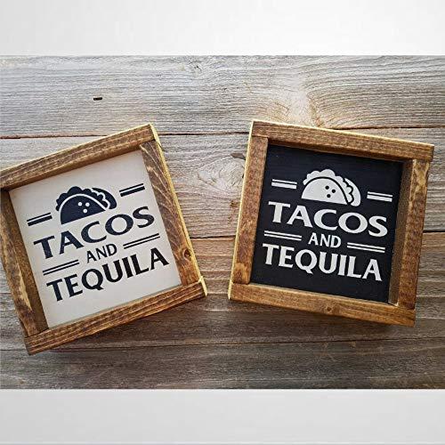EricauBird Juego de 2 letreros pequeños con marco de madera rústica de tacos y tequila para colgar en la pared, decoración del hogar, arte de pared para sala de estar, 18 x 18 cm