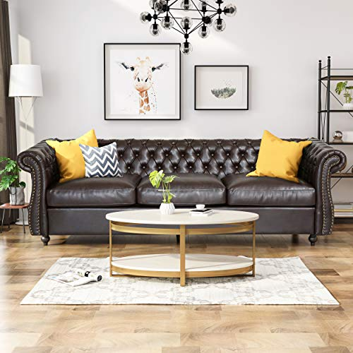 Vita Chesterfield Tufted Faux Leather Sofa with Scroll Arms, Brown
