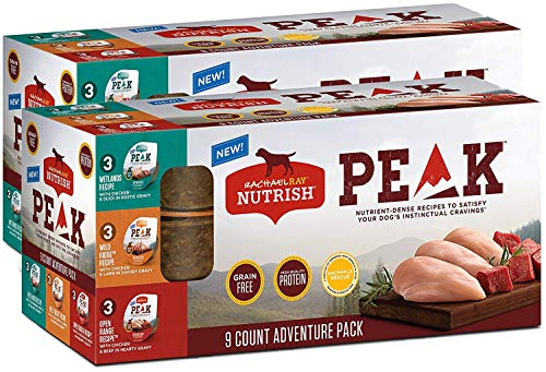 Rachael Ray Nutrish PEAK Natural Wet Dog Food Adventure Pack Variety, 3.5 Ounce Tub (Pack of 18), Grain Free, Protein
