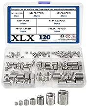 XLX 120pcs M3 M4 M 5 M6 M8 M10 M12 Wire Thread Inserts Steel Sheath Helicoil TypeScrew RepairSleeve Assortment Kit with Plastic Box