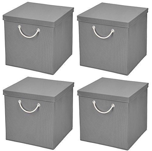 Stick&Shine 4er Set Hellgrau Faltbox 30 x 30 x 30 cm Aufbewahrungsbox faltbar mit Kordel und mit Deckel