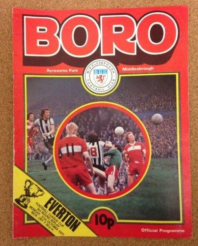Middlesbrough Everton 31/10/77 AYRESOME Park Boro football programme (GR1)