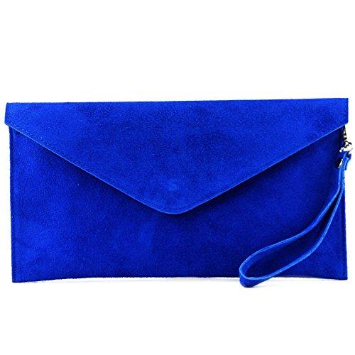 modamoda de - ital embrague/noche bolsa de gamuza T106, Color:azul real
