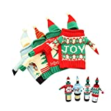 Gofypel Christmas Wine Bottle Covers Ugly Sweater Bottle Ornaments Beer Water Bottle Holders Xmas Table Decor with Hats for Christmas Holiday Party Favors Supplies 4 Set