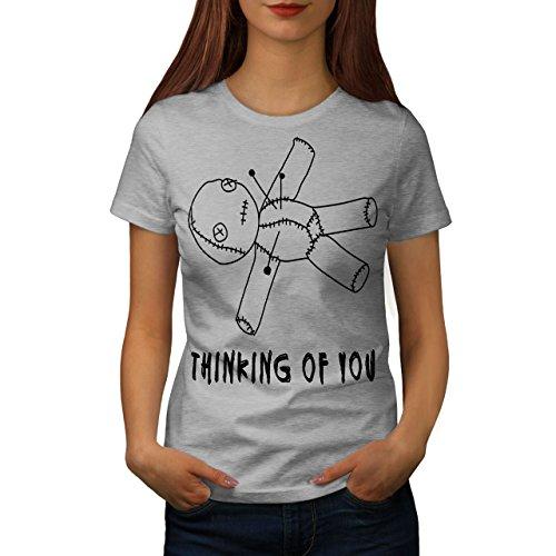 wellcoda Sie Voodoo Puppe Frau T-Shirt Grusel Lässiges Design Bedrucktes T-Shirt