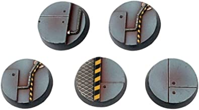 War World Gaming Industry of War Sci-Fi Industrial Round Bases x 5 (40mm) – 28mm Wargaming Terrain Model Diorama