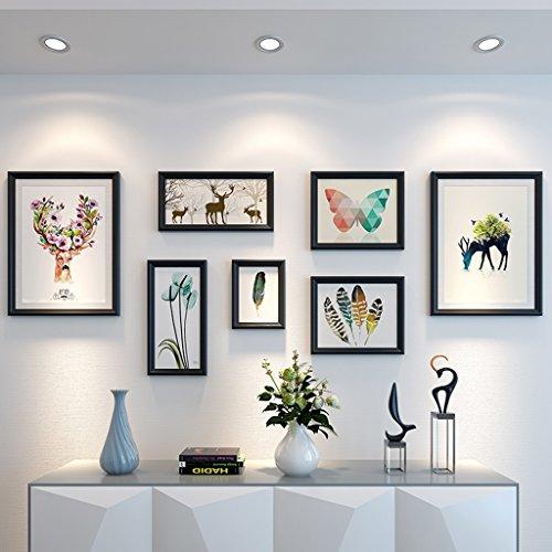 Cadre décoratif 7 PCS/Set Home Design Mariage Amour Photo Cadre Décoration Murale Cadre Photo En Bois Ensemble pour Mur Cadre Photo Ensemble (Couleur : B)