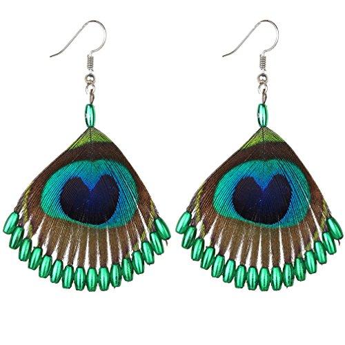 YAZILIND Mode Zubehör Hübsche Pfau Federn grüne Perle Legierung Anhänger Fischhaken Ohrringe (grün)