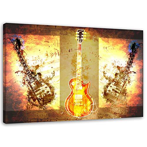 Feeby. Wandbild - 1 Teilig - 80x120 cm, Leinwand Bild Leinwandbilder Bilder Wandbilder Kunstdruck, Gitarren, Instrumente, Musik, MODERN, BRAUN
