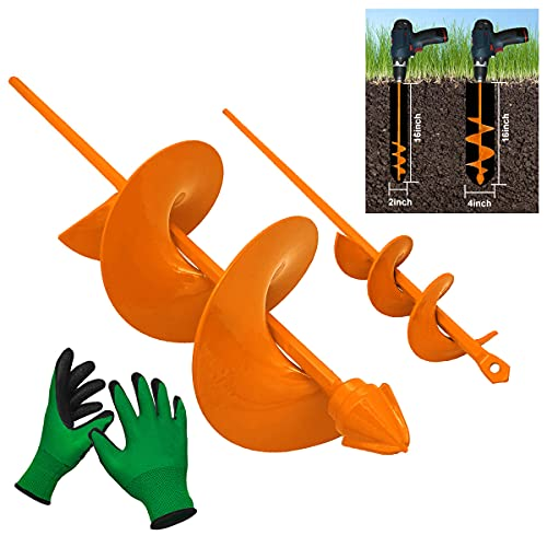 Auger Drill Bit For Planting - 4'(D) x16'(L) & 2'(D) x16'(L) Heavy-Duty Auger For Garden Digging Machine Post Hole Digger Bulb Bedding Plant Rapid Planter For 3/8 Inch Hex Drive Electric Drill, With Non-Slip Garden Gloves