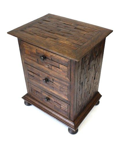 Farang Teak 3 ladekast, teruggewonnen Thais teakhout meubilair. Hoogte = 66,5 cm.