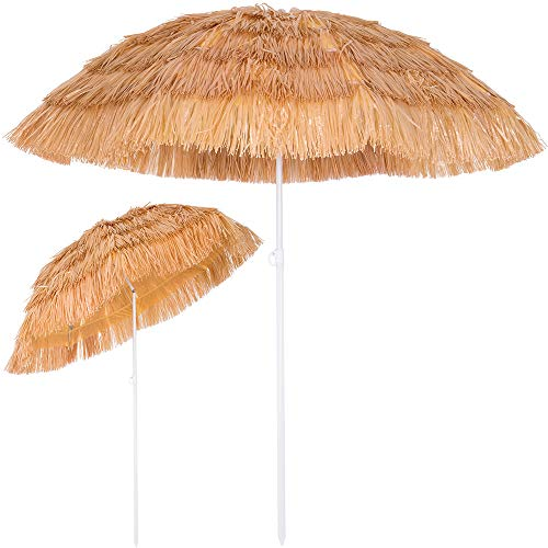 Kingsleeve Sombrilla de playa jardín exterior Ø 160 cm Hawaii color Natural con función de inclinación parasol reclinable