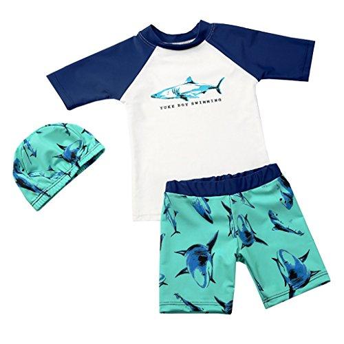 OMSLIFE Jungen Badeshorts mit Haifisch-Print Badehosen Badeanzug (Blau, Höhe110/120cm (Etikett 2XL))