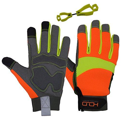 HANDLANDY Hi-vis Reflective Work Gloves, Anti Vibration Safety Gloves, Touch Screen, Orange Flexible Spandex Back Large