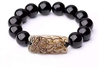 SX Commerce Feng Shui The Best 12mm Black Hand Carved Pi Xiu/Pi Yao Bracelet Lucky Wealthy Amulet Brecelet