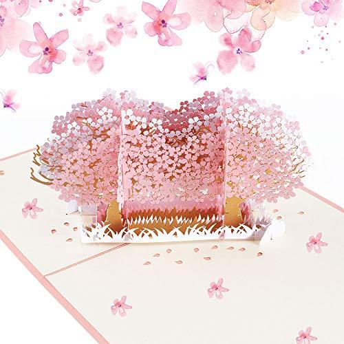 Nahuaa Tarjeta Regalo de 3D Pop-up Tarjeta de Felicitación de Flor de cerezo Tarjeta Cumpleaños Tarjeta de Boda Invitación con Sobre para Acción de Gracias aniversario Navidad Día de San Valentín