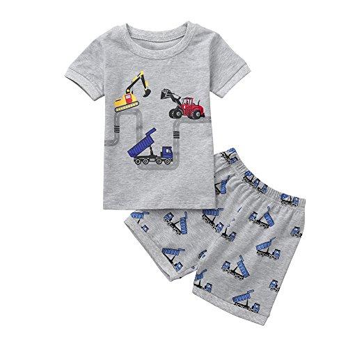 feiXIANG Ropa para bebés Conjunto de Ropa para niños recién Nacidos de la niña Baby Boy Dibujos Animados Excavadora Camiseta Top + Pantalones Cortos Conjunto de Disfraces