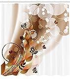 Stoffdekoration Sepia Duschvorhang für Badezimmer,wasserdichtes & schnelltrocknendes Polyester,hochauflösendes Muster,12Haken,183x183cm