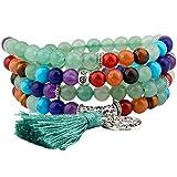 Shanxing Bracciale o collana con 108grani di pietra, mala tibetano, rosario per preghiere, meditazione buddista e placcato_argento, colore: 7 Chakra & Green Aventurine-6mm, cod. SXUKAM03462