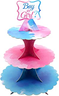 Baby Shower Cupcake Stand Party Supplies 3 Tier Cake Display Gender Reveal Party Decorations Table Centerpiece