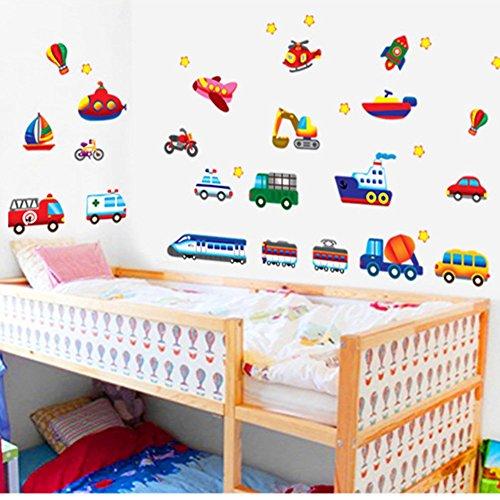 Macchine Aerei Treni Autobus Stickers Murali Adesivi Da Parete Decalcomania Camerette Bambini