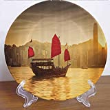 8' Sailboat Nautical Decor Collection Ceramic Dinner Plate Sunset Skyline of Hong Kong with Traditional Cruise Sailboat at Victoria Harbor Decor Accessory for Dining Table Tabletop Home Decor