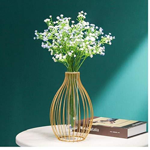 TOPofly Vase, Laterne-Form Eisen-Blumen-Vase mit Glasrohr, Nordic Schmiede Gold-Metalldraht-Kerzenhalter für Haupthochzeits-Dekoration (1PC, Laterne-Form)
