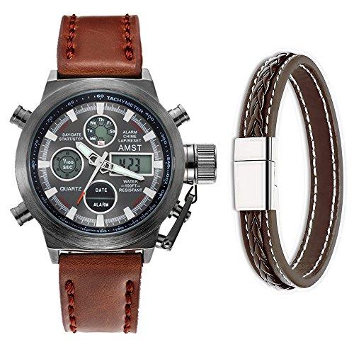 AMST 3003- Orologio sportivo da polso al quarzo, multifunzione, con cinturino in nylon e display analogico digitale di colore nero