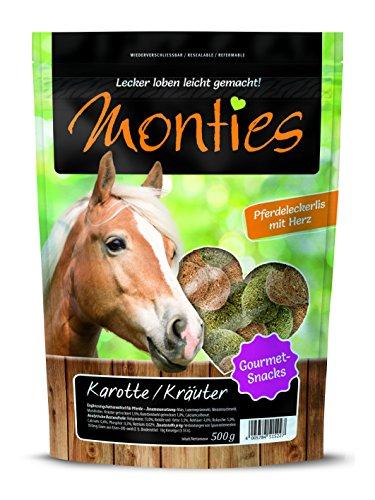 Monties Pferdeleckerlis, Karotte-/Kräuter-Snacks, Extrudiert, Größe ca. 4,5 cm Durchmesser, Gourmet-Snacks, 500 g