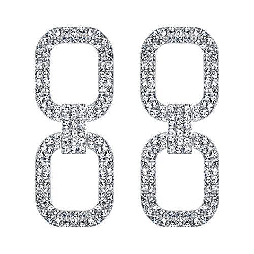 EVER FAITH Orecchini 7 Colori Cristallo Rettangolo Geometrico Moderno collegamento Statement goccia Orecchini pendenti Trasparente Argento-fondo