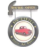 SARED - Placca per Pneumatico Auto, Martello We're Open, in Metallo, Decorazione da Parete, Grande Garage, Riparazione Vintage, 60 x 42 x 3,5 cm - San Valentino, compleanno, idea regalo di nozze