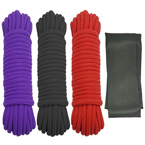 Confezione da 32piedi giapponese Shibari Rope morbido resistente cotone corde (rosso nero viola) per Flirting coppie SM bondage sex Play, nero