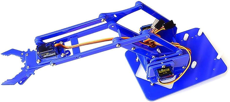 Robotic Arm DIY Parts UNO Learning Kit Acrylic DIY Kit Single Pole Steering Gear,bluee