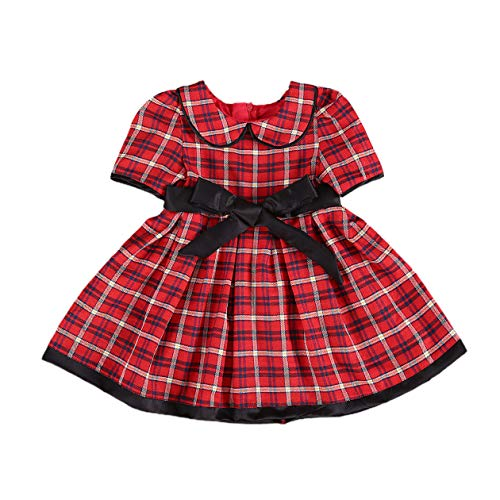 Toddler Baby Girls Ruffle Long Sleeves Red Plaid Dress Casual Party Dress (A- Red Plaid, 4-5 T)