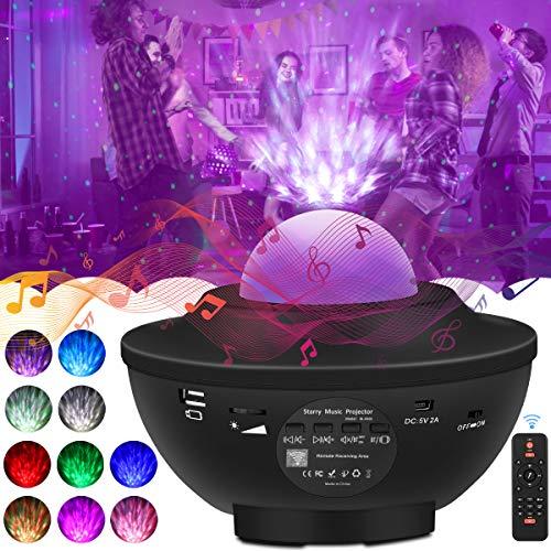 LED Sternenhimmel Projektor Lampe, Nachtlicht Sternenhimmel Projektor Erwachsene mit Bluetooth Lautsprecher-Musik, Auto-off-Timer und Fernbedienung für Geburtstagsfeier, Ballsaal, Bar, Familientreffen