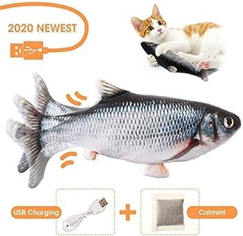 Charminer Jouet pour Chat,Jouet Poisson,Jouet Poisson Electronique Simulation en Mouvement USB Rechargeable avec Cataire